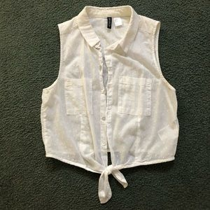 H&M cropped white button up